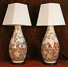 Rare Large Pair of Japanese Imari Vases as Lamps