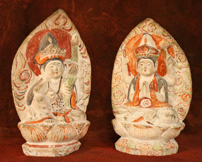 18th Century Japanese Stone Sculpture Pair of Sattva