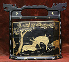 Antique Gold and Black Lacquer Obento  Lunch/Picnic Box