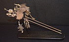 Rare Japanese Edo Period Silver and Gilt Hair Pin