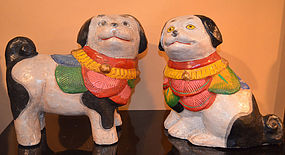 Pair of Inu Gosho Ningyo, Japanese Dog Dolls