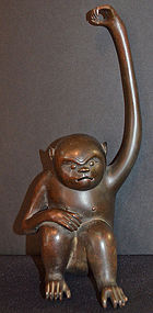 Japanese Meiji Period Bronze Monkey Incense Burner