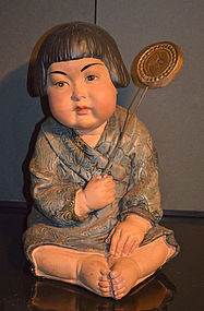 Large Rare Japanese Clay Figure of Young Girl Playing