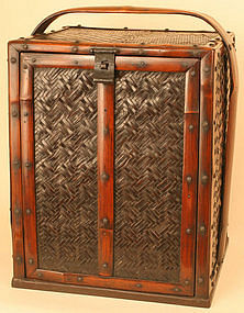 Very Rare 19thC. Japanese Woven Bamboo Tea Ceremony Box