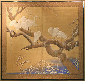 Stunning, Very Fine Meiji Period Snow Cranes Screen