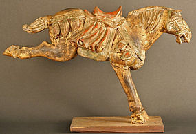 Edo Period Galloping Horse Wood and Gold Sculpture