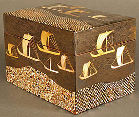 Fine Lacquered Box from Boston's MFA, Boats and Waves