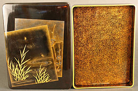 Beautiful Meiji Period  Fireflies Black Lacquered Box