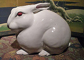 White Rabbit Ceramic Sculpture by Takegawa Chikusai