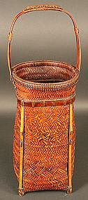 Japanese Antique Fishing Basket signed by Kazuhiro
