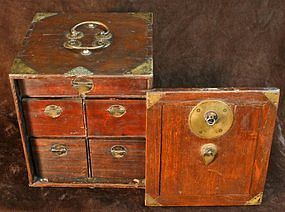 Japanese Safe with Drawers and Handsome Metalwork