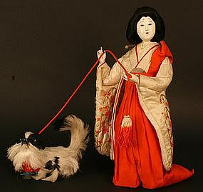 Published Ningyo of Japanese Court Lady and Dog