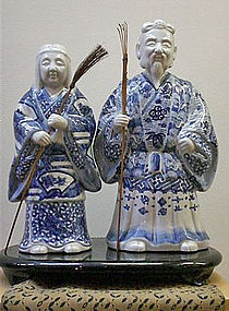 Arita Blue and White Porcelain Sculpture of Jo and Uba