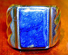 Fine Sterling Silver Lapis Man's Ring MEXICO