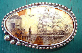 Sterling Scimshaw Ivory Clipper Ship Artist Signed