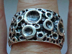 Sterling Silver Wide Band Ring Crater Design Hallmarked