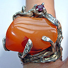 Funky Sterling Ring Amethyst + Orange Stone Marked