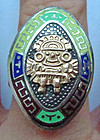 Rare 18K Gold Sterling Colorful Enamel Ring Mexico