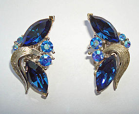 Blue Crystal Earrings in Silvertone Signed LISNER