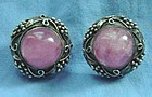 Vintage Art Deco Chinese Silver Rose Quartz Earrings