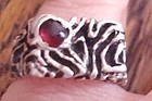 Mod Vintage Silver Ruby Ring Israel - All Marks