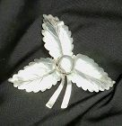 Large Sterling Silver Leaf Pin Marked Arts and Crafts