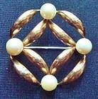 Fine Pearl Gold Sterling Symmetalic Brooch Hallmarked