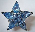 Fine Blue Star Crystal Brooch c. 1950