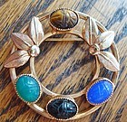 Lovely Scarab Brooch Colorful Stones Maker