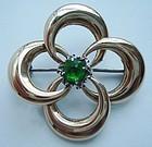 Vintage Sterling 14K Gold Emerald Brooch Maker