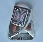 Large Sterling Ring Mexico Gemstone Mod Design
