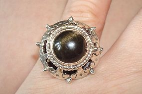 Vintage Taxco Honey Onyx Poison Ring Opens Hallmarks