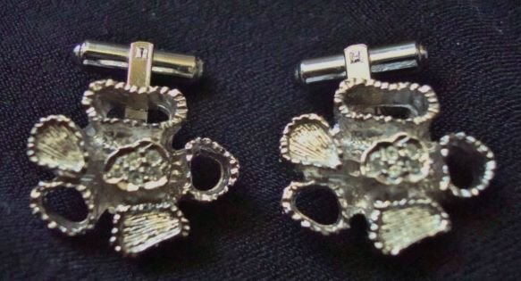 GREAT Funky Mod Cuff Links Silver Tone Lobed Dimpled +