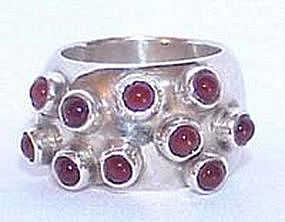 Signed Sterling Carnelian Gertrude Engel Ring DENMARK