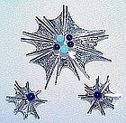 Sterling Brooch and Earrings Set Denmark Signed