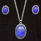 Blue Scarab Necklace / Earrings Set 1940s Signed
