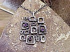 Modernist Silver Amethyst Geometric Pendant and Chain