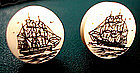 Nautical Earrings Clipper Ship Scrimshaw FREE US S/H