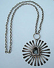 Signed Jacob Hull Sunburst Pendant & Chain Denmark