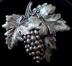 Sterling Silver Grapevine Brooch By JEWELART 1960's