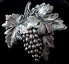 Sterling Silver Grapevine Brooch By JEWELART 1960