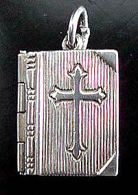 Sterling Silver Prayer Book Charm Lord's Prayer Opens
