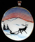 Sterling Vermeil Norway Brooch Winter Scene Jensen