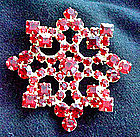 Large Red Rhinestone Starburst Brooch c. 1950