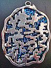 Large Mod Geo Coro Pendant Sterling Over Blue Design