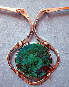 Vintage Sterling Silver Link Necklace Colorful Stone