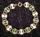 Fine Vintage Pearl & Jade Bracelet in Gold Fill Signed