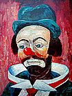 Vintage Colorful Clown Print by Michele c. 1960