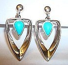 Sterling & Turquoise Dangle Earrings By Miguel Mexico