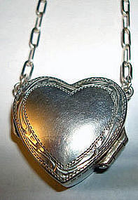 Vintage Sterling Heart Locket Necklace London Hallmarks